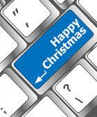 Happy christmas message, keyboard enter key button — Stock Photo