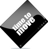 Video player for web with time to move word — 图库照片