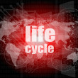 Life cycle words on digital touch screen — Stock Photo