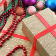 Christmas and new year decoration, baubles and gifts — Stok fotoğraf