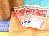Euro money set with vintage white bottle — Stock Photo