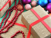 Christmas and new year decoration, baubles and gifts — Stock Photo