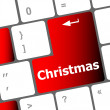 Christmas button on the keyboard key - holiday concept — Stockfoto