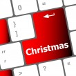 Christmas button on the keyboard key - holiday concept — Foto Stock