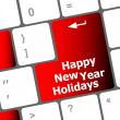 Happy new year holidays button on computer keyboard key — Stock Photo