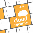 Cloud security concept showing cloud icon on computer key — 图库照片