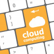 Cloud computing concept showing cloud icon on computer key — Stock Photo