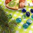 Christmas balls, new year tree and stones set — Stockfoto