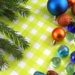 Christmas balls, new year fir tree and stones set — Stockfoto