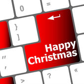 Happy christmas message, keyboard enter key button — Stockfoto