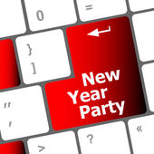 Computer keyboard key with new year party words — Stock Photo