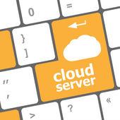 Cloud server worte konzept auf die blaue taste der tastatur — Stockfoto