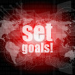 Business concept: words set goals on digital touch screen — Foto Stock