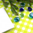 New year holiday card, christmas fir tree and stones set — ストック写真