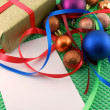 Christmas and new year decoration, baubles and gifts — Foto Stock