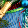 Beautiful ornaments, champagne, pearl and balls as a New Year decoration — Lizenzfreies Foto