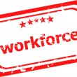 Workforce on red rubber stamp over a white background — Stock Photo