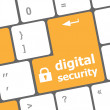 Safety concept: computer keyboard with digital security icon on enter button background — Foto de Stock