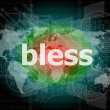 Stock Photo: Bless text on digital touch screen - business concept