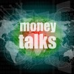 Money talks words on digital touch screen — Stock Photo