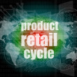 Product retail cycle - digital touch screen interface — Stock Photo