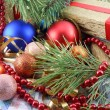 Christmas gift box with new year balls, white diamonds and tree branch — Stok fotoğraf
