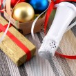Beautiful ornaments, champagne and balls as a New Year decoration — ストック写真
