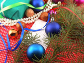 Christmas decoration and balls, new year tree branch — Stock Photo
