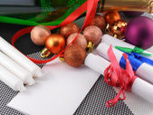Champagne bottle, new year card and christmas decoration — Stock Photo