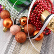 Wine (champagne) and Pearls, christmas balls set — Stock Photo
