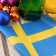 Sweden flag with christmas decoration, new year card — Lizenzfreies Foto