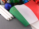 Italy flag with christmas decoration, new year card — Stock fotografie