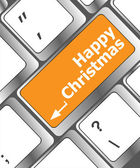 Happy christmas message, keyboard enter key button — 图库照片