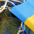Ukraine flag with christmas decoration, new year card — Stock Photo