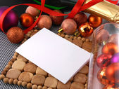 New year celebration, christmas invitation card with balls — Stock Photo