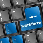 Belegschaft taste auf tastatur - geschäftskonzept — Stockfoto