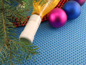 Champagne and balls as a New Year decoration, winter holidays — Stock Photo