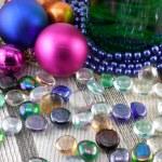 Champagne (wine) set, balls, stone, new year decoration — Stock Photo #37022089