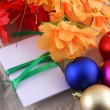 New year and christmas celebration, balls, flowers and invitation card — Stock Photo #37021049