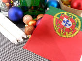 Portugal flag with christmas decoration, new year card — Stock Photo