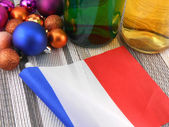 France flag with christmas decoration, new year card — Stock Photo
