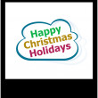 Happy christmas holidays word on cloud, isolated photo frame — Stock Photo