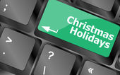 Computer keyboard key with christmas holidays words — Stock fotografie