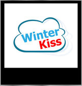 Winter kiss word on cloud, isolated photo frame — Stock Photo