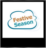 Festive season word cloud on photo frame, isolated — Stock Photo