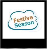 Festive season word cloud on photo frame, isolated — Stock Photo
