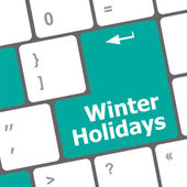 Computer keyboard key with winter holidays words — Stock Photo