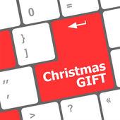 Teclado de ordenador con las palabras de regalo de navidad — Foto de Stock