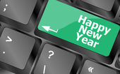 Happy new year message, keyboard enter key button — Stock Photo