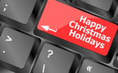 Happy christmas holidays button on computer keyboard key — Stock fotografie